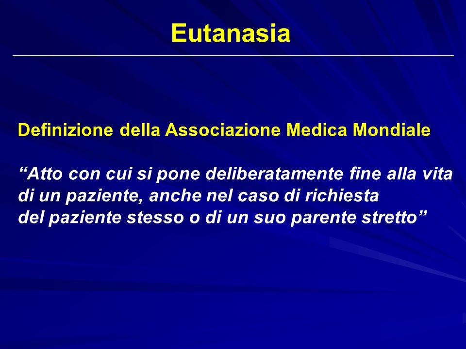 Definizione della Associazione Medica Mondiale Atto con cui si pone deliberatamente fine alla vita di un paziente, anche nel caso di richiesta del paz