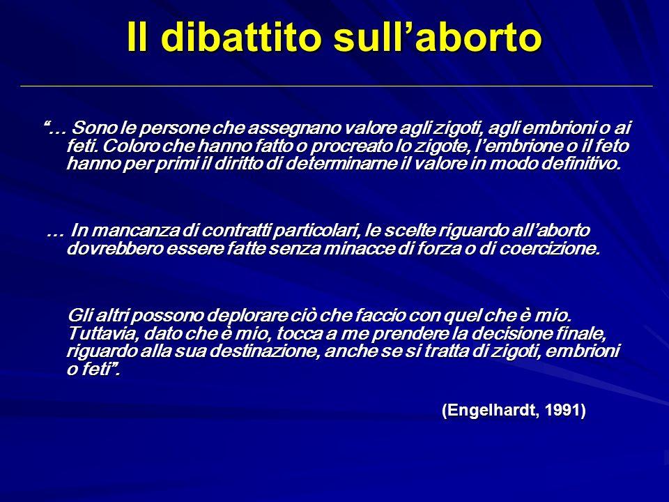 Il dibattito sullaborto … Sono le persone che assegnano valore agli zigoti, agli embrioni o ai feti. Coloro che hanno fatto o procreato lo zigote, lem