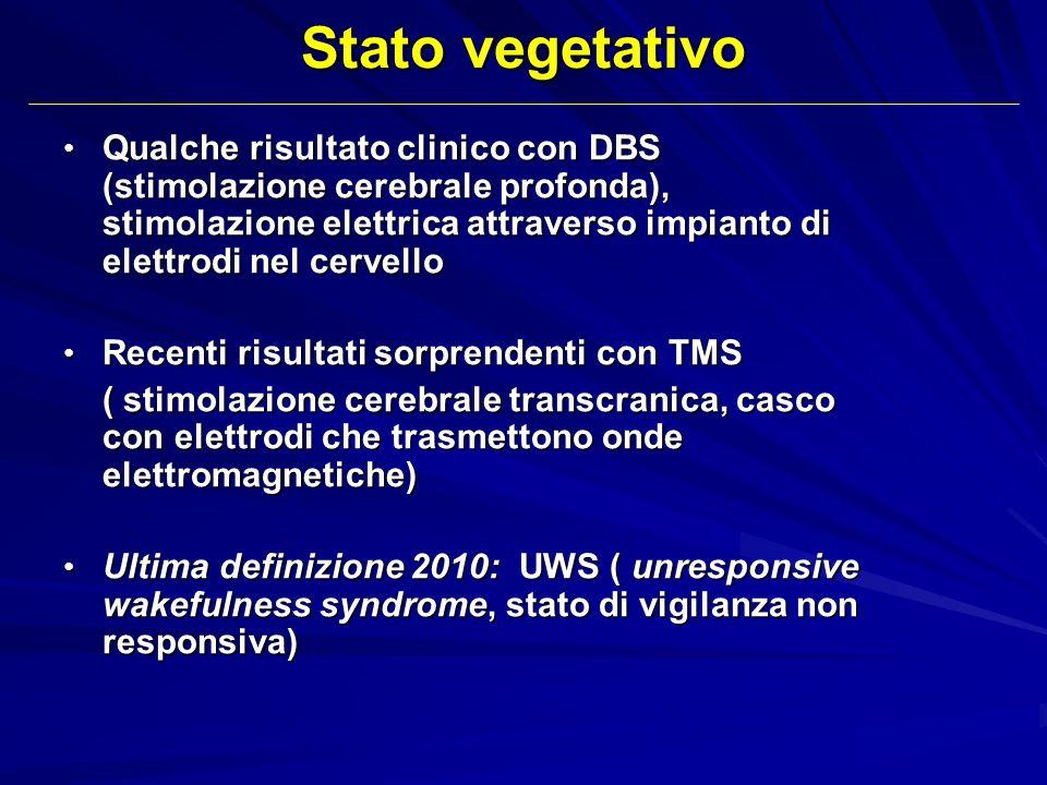 Stato vegetativo Qualche risultato clinico con DBS (stimolazione cerebrale profonda), stimolazione elettrica attraverso impianto di elettrodi nel cerv