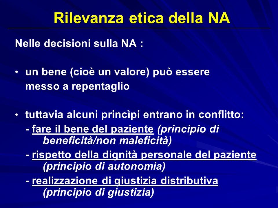 Rilevanza etica della NA Nelle decisioni sulla NA : un bene (cioè un valore) può essere messo a repentaglio tuttavia alcuni princìpi entrano in confli