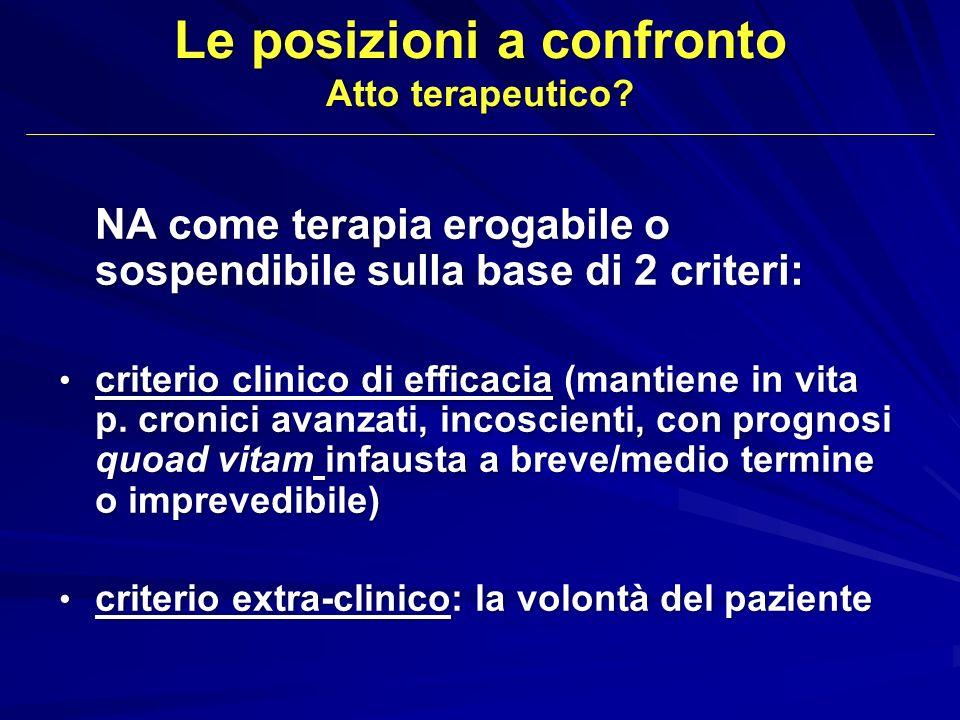 Le posizioni a confronto Atto terapeutico? NA come terapia erogabile o sospendibile sulla base di 2 criteri: criterio clinico di efficacia (mantiene i