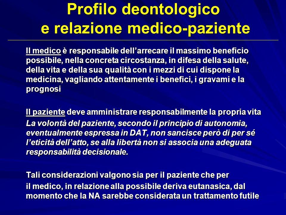 Profilo deontologico e relazione medico-paziente Il medico è responsabile dellarrecare il massimo beneficio possibile, nella concreta circostanza, in
