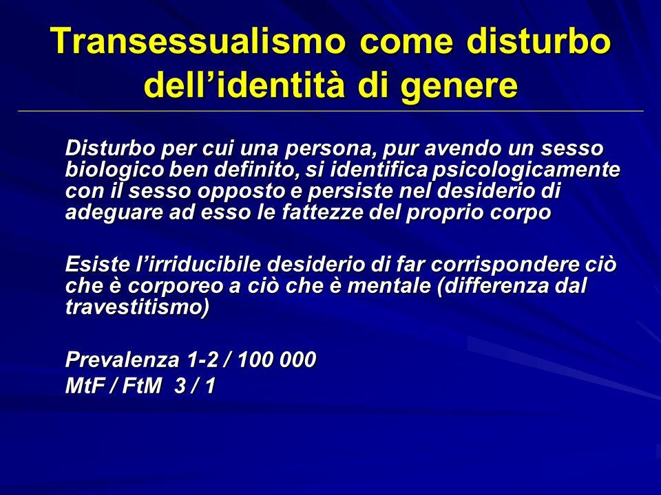 Transessualismo come disturbo dellidentità di genere Disturbo per cui una persona, pur avendo un sesso biologico ben definito, si identifica psicologi