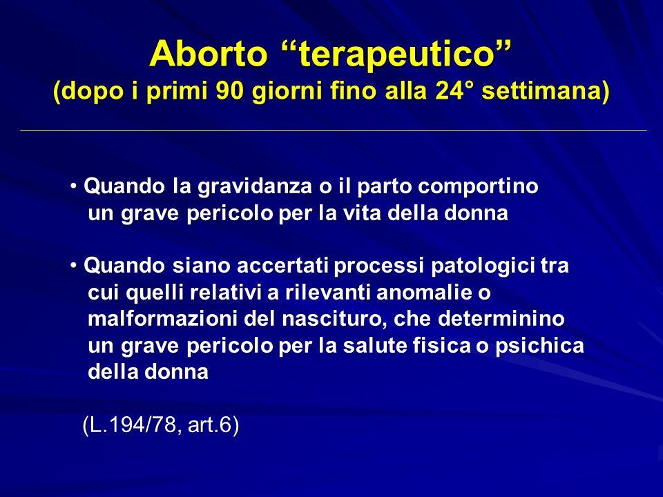 Aborto terapeutico (dopo i primi 90 giorni fino alla 24° settimana) Quando la gravidanza o il parto comportino Quando la gravidanza o il parto comport