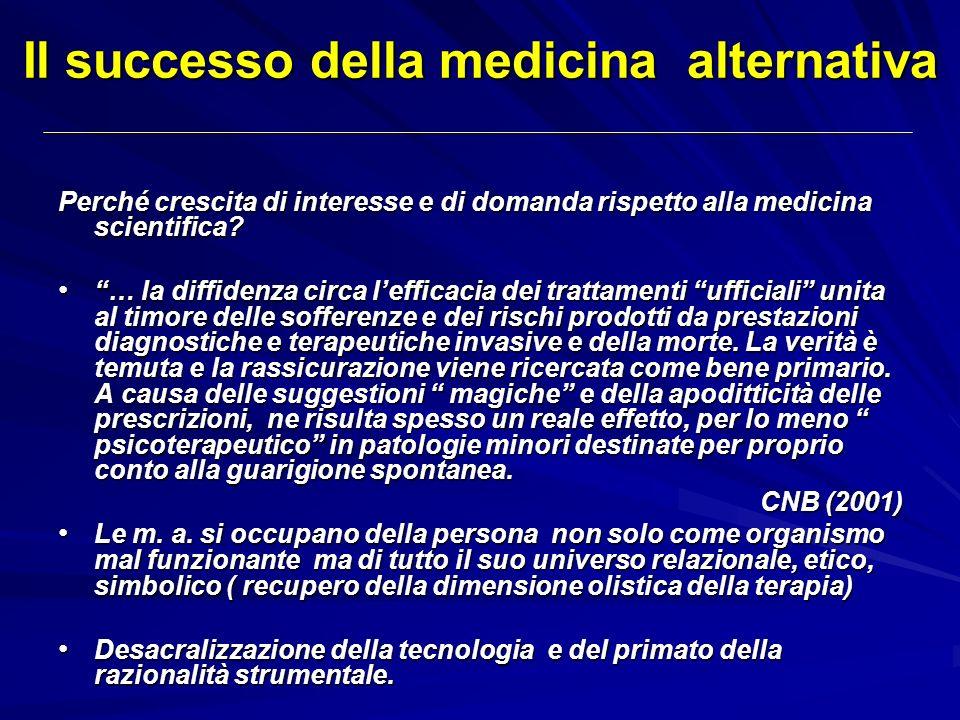 Il successo della medicina alternativa Perché crescita di interesse e di domanda rispetto alla medicina scientifica? … la diffidenza circa lefficacia
