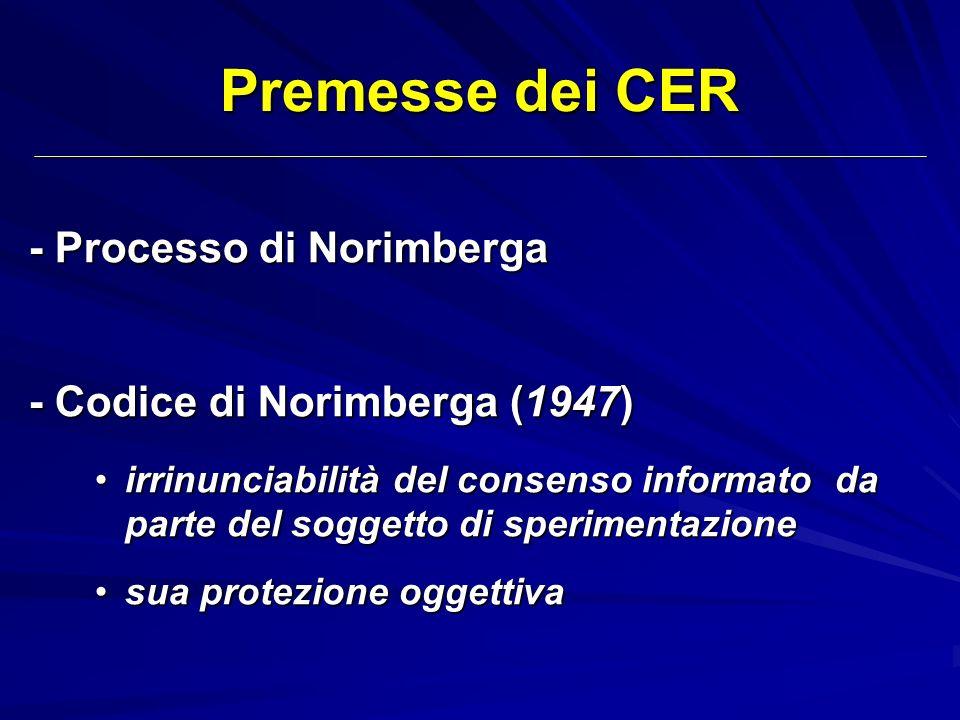 Premesse dei CER - Processo di Norimberga - Codice di Norimberga (1947) irrinunciabilità del consenso informato da parte del soggetto di sperimentazio