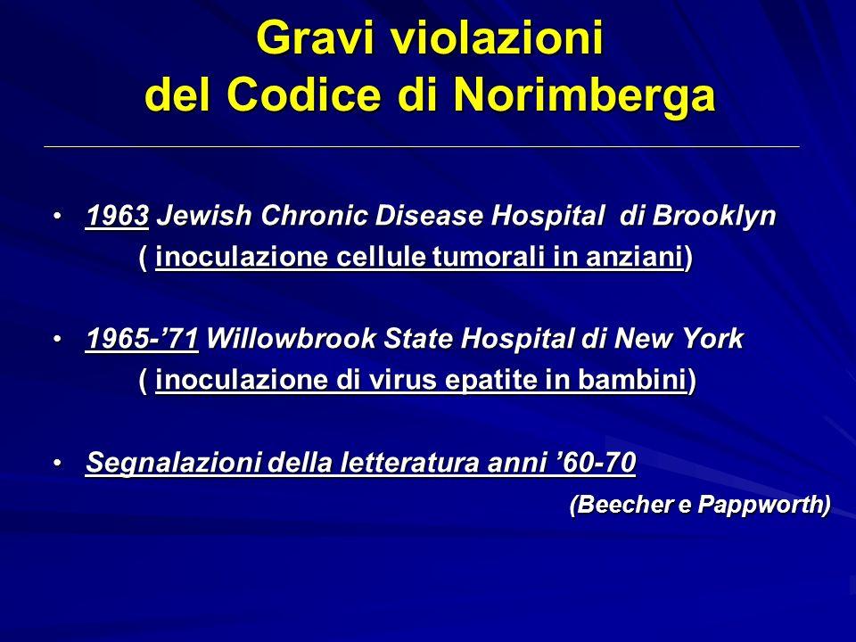 Gravi violazioni del Codice di Norimberga 1963 Jewish Chronic Disease Hospital di Brooklyn 1963 Jewish Chronic Disease Hospital di Brooklyn ( inoculaz