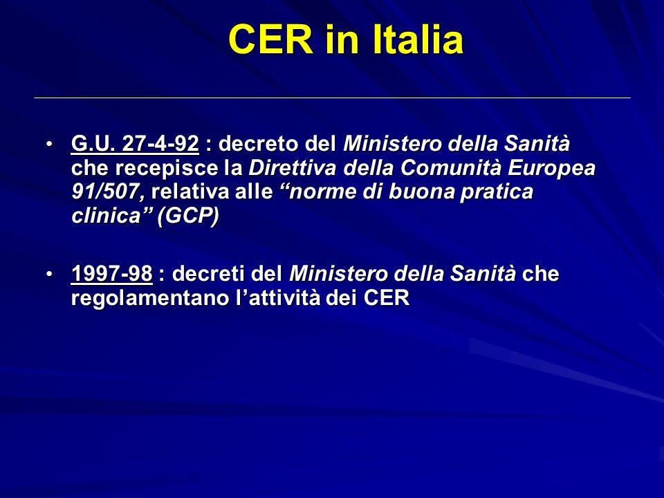 CER in Italia G.U. 27-4-92 : decreto del Ministero della Sanità che recepisce la Direttiva della Comunità Europea 91/507, relativa alle norme di buona