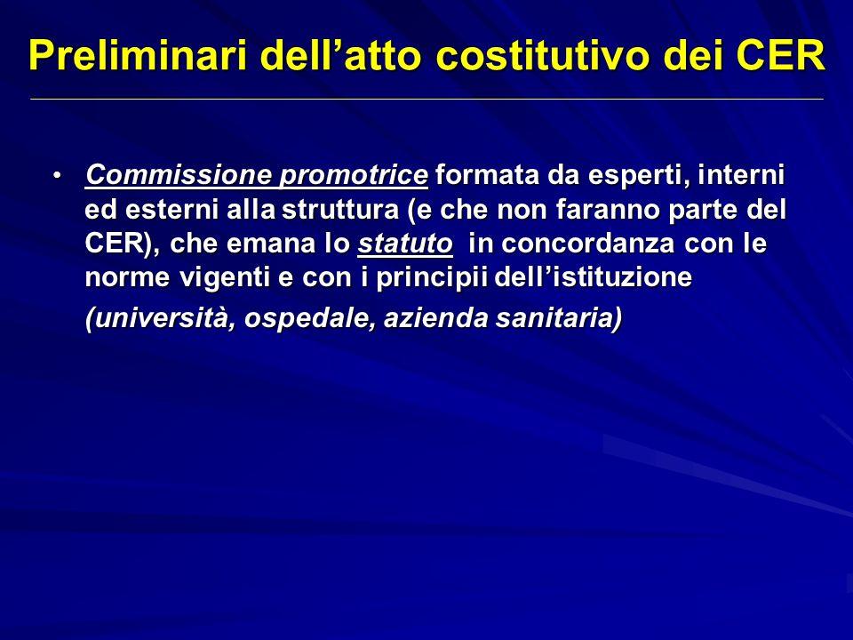 Preliminari dellatto costitutivo dei CER Commissione promotrice formata da esperti, interni ed esterni alla struttura (e che non faranno parte del CER