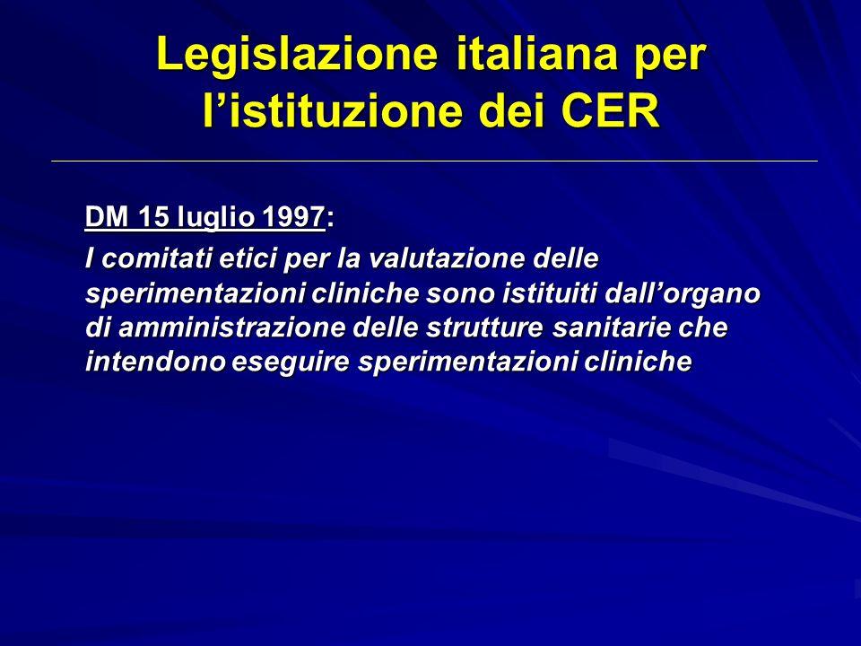 Legislazione italiana per listituzione dei CER DM 15 luglio 1997: I comitati etici per la valutazione delle sperimentazioni cliniche sono istituiti da