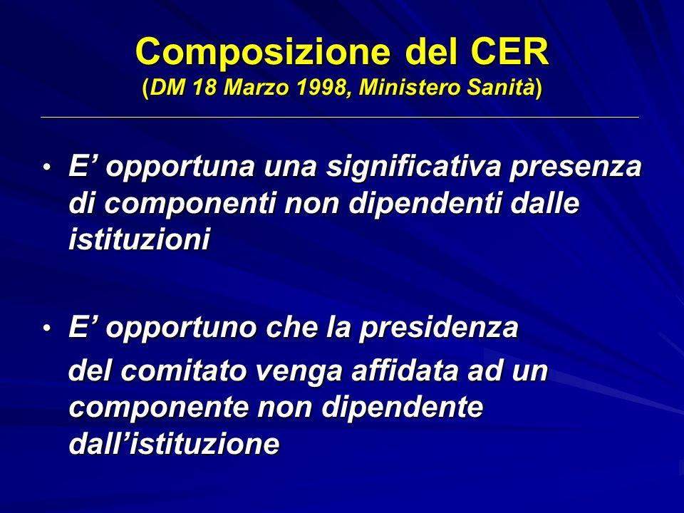 Composizione del CER (DM 18 Marzo 1998, Ministero Sanità) E opportuna una significativa presenza di componenti non dipendenti dalle istituzioni E oppo