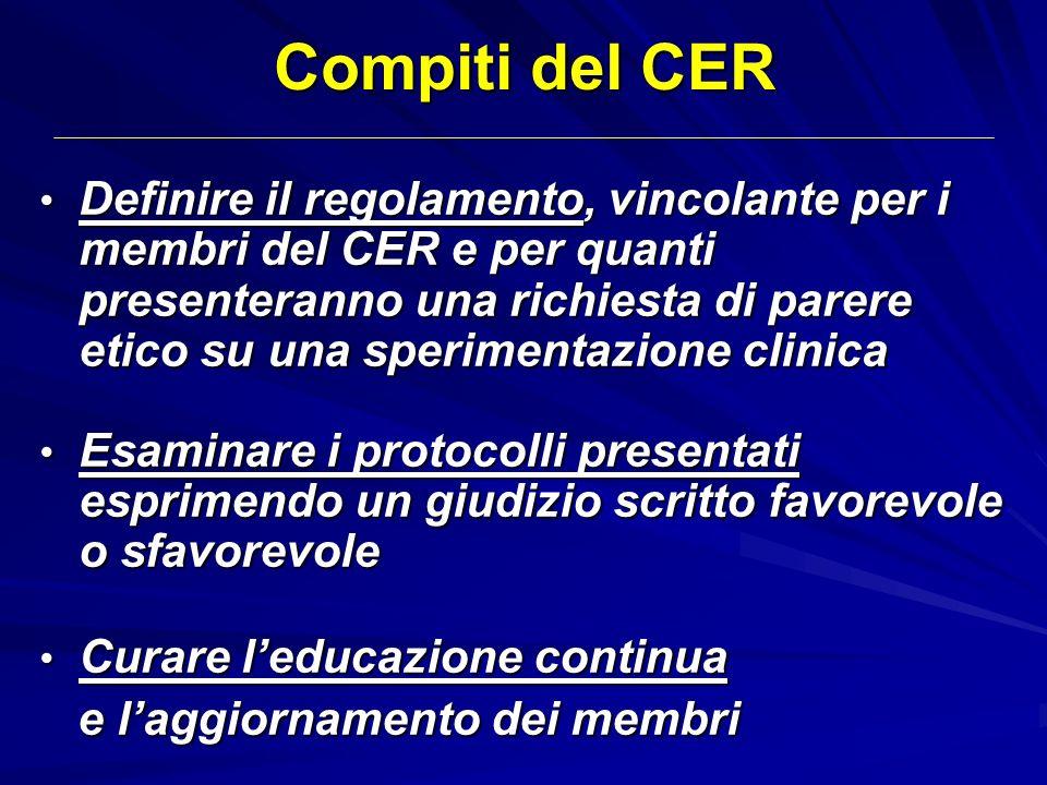 Compiti del CER Definire il regolamento, vincolante per i membri del CER e per quanti presenteranno una richiesta di parere etico su una sperimentazio