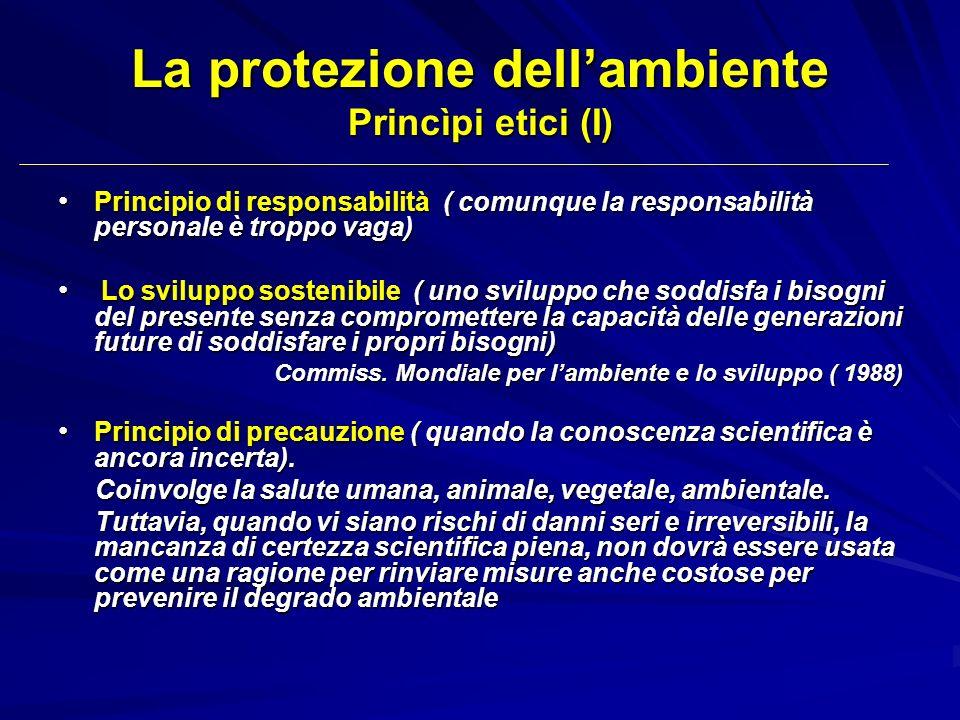 La protezione dellambiente Princìpi etici (I) Principio di responsabilità ( comunque la responsabilità personale è troppo vaga) Principio di responsab