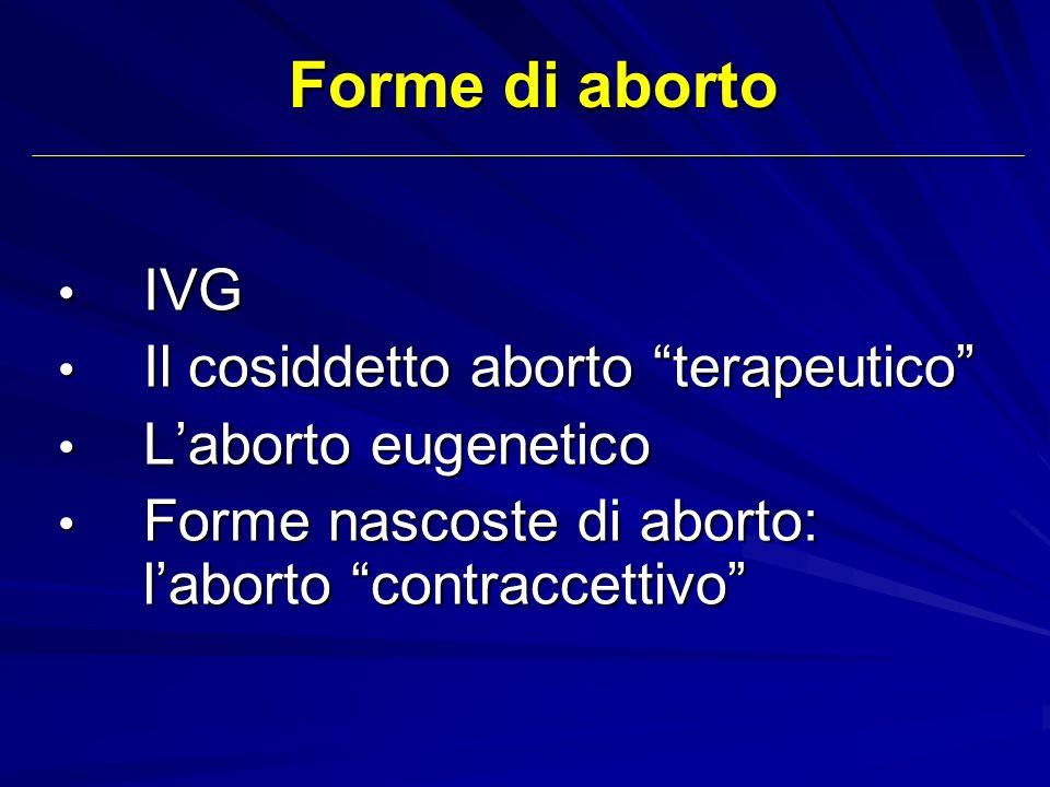 Forme di aborto IVG IVG Il cosiddetto aborto terapeutico Il cosiddetto aborto terapeutico Laborto eugenetico Laborto eugenetico Forme nascoste di abor
