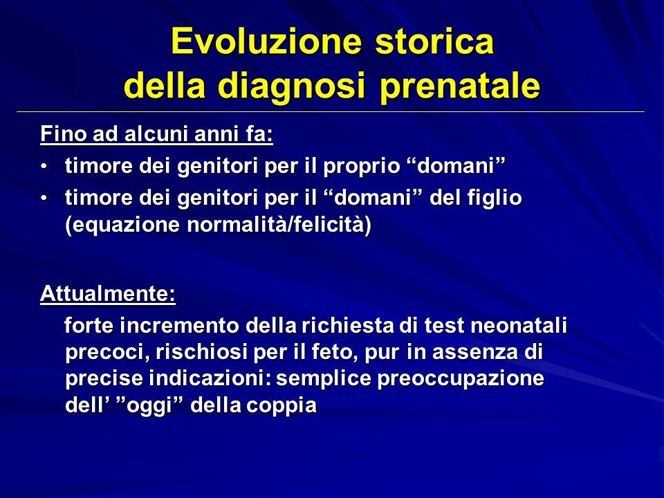 Evoluzione storica della diagnosi prenatale Fino ad alcuni anni fa: timore dei genitori per il proprio domani timore dei genitori per il proprio doman