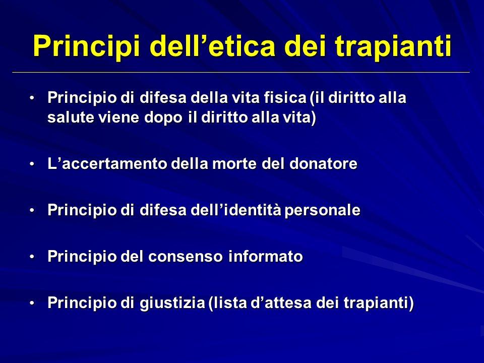 Principi delletica dei trapianti Principio di difesa della vita fisica (il diritto alla salute viene dopo il diritto alla vita) Principio di difesa de