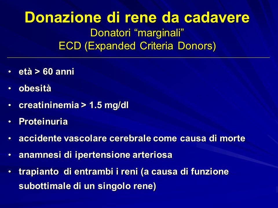 Donazione di rene da cadavere Donatori marginali ECD (Expanded Criteria Donors) età > 60 anni età > 60 anni obesità obesità creatininemia > 1.5 mg/dl