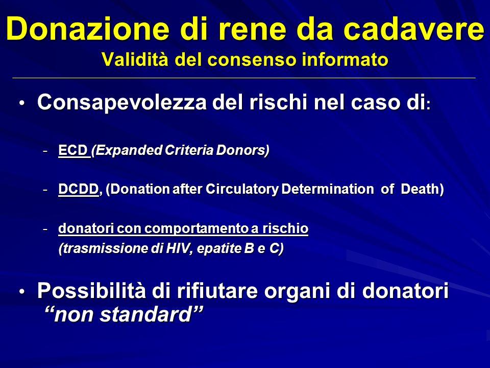 Donazione di rene da cadavere Validità del consenso informato Consapevolezza del rischi nel caso di : Consapevolezza del rischi nel caso di : -ECD (Ex