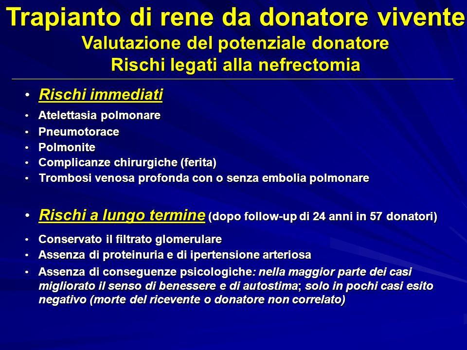 Rischi immediati Rischi immediati Atelettasia polmonare Atelettasia polmonare Pneumotorace Pneumotorace Polmonite Polmonite Complicanze chirurgiche (f