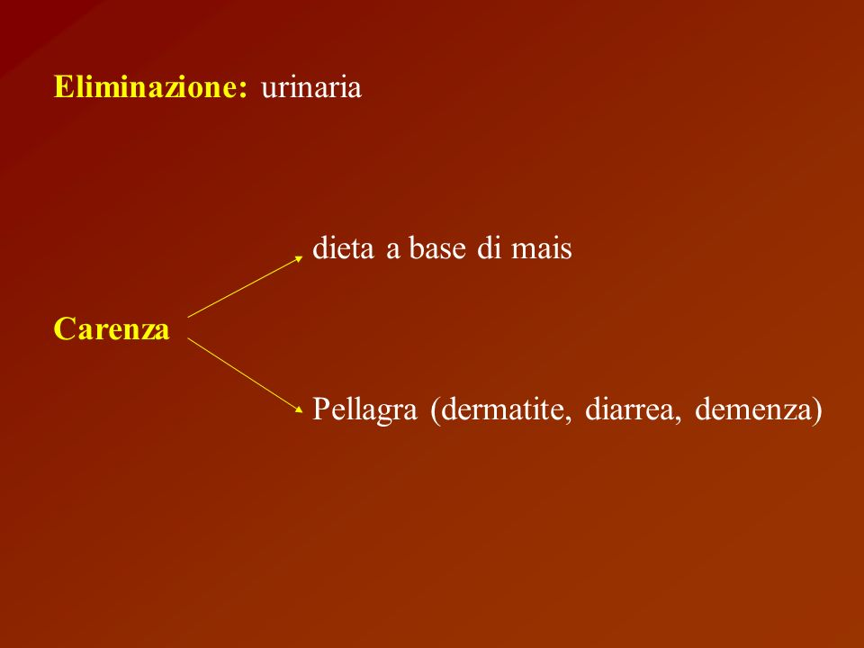 Eliminazione: urinaria dieta a base di mais Carenza Pellagra (dermatite, diarrea, demenza)