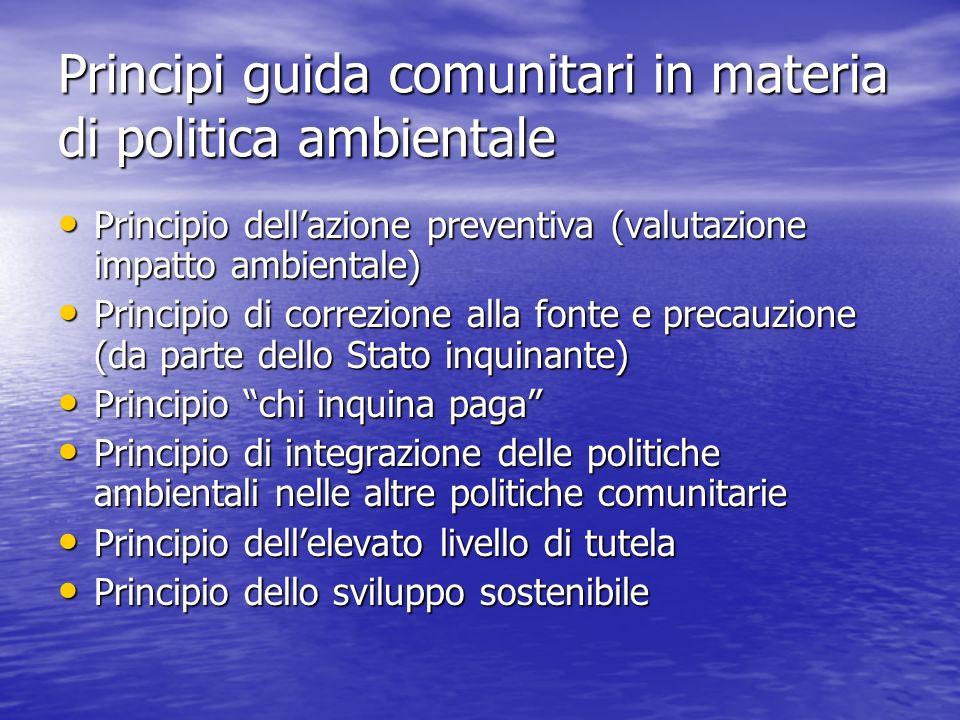 Principi guida comunitari in materia di politica ambientale Principio dellazione preventiva (valutazione impatto ambientale) Principio dellazione prev