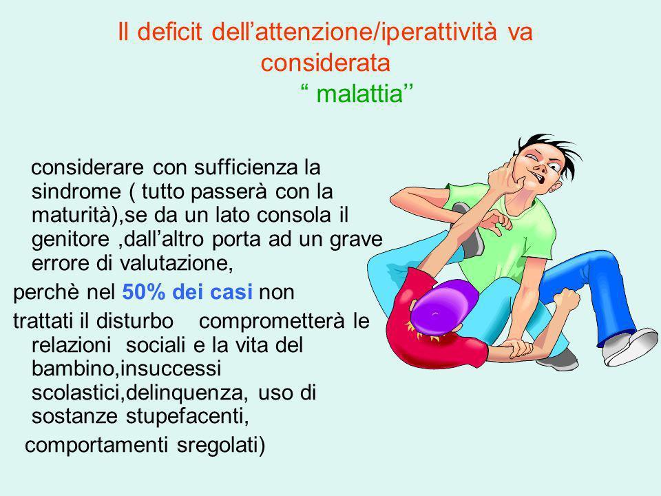 Il deficit dellattenzione/iperattività va considerata malattia considerare con sufficienza la sindrome ( tutto passerà con la maturità),se da un lato
