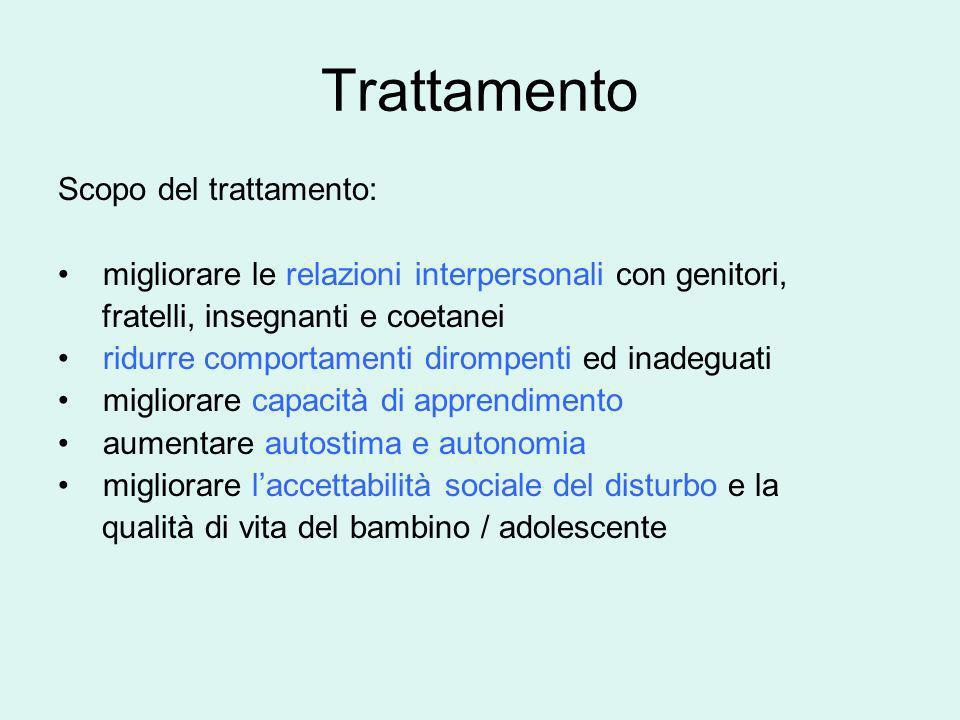 Trattamento Scopo del trattamento: migliorare le relazioni interpersonali con genitori, fratelli, insegnanti e coetanei ridurre comportamenti dirompen