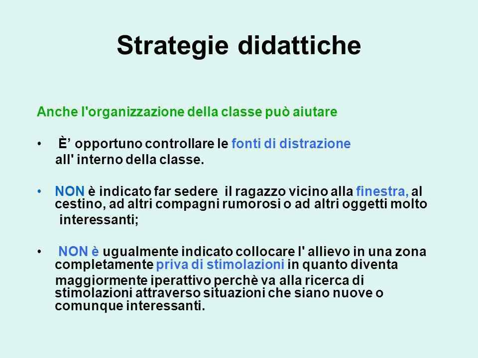 Strategie didattiche Anche l'organizzazione della classe può aiutare È opportuno controllare le fonti di distrazione all' interno della classe. NON è