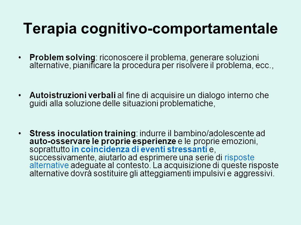 Terapia cognitivo-comportamentale Problem solving: riconoscere il problema, generare soluzioni alternative, pianificare la procedura per risolvere il