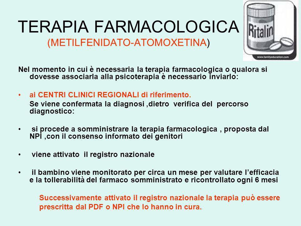 TERAPIA FARMACOLOGICA (METILFENIDATO-ATOMOXETINA) Nel momento in cui è necessaria la terapia farmacologica o qualora si dovesse associarla alla psicot