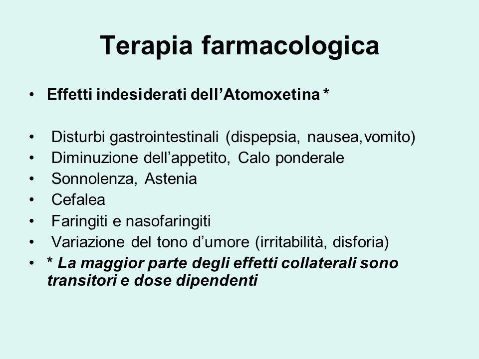 Terapia farmacologica Effetti indesiderati dellAtomoxetina * Disturbi gastrointestinali (dispepsia, nausea,vomito) Diminuzione dellappetito, Calo pond