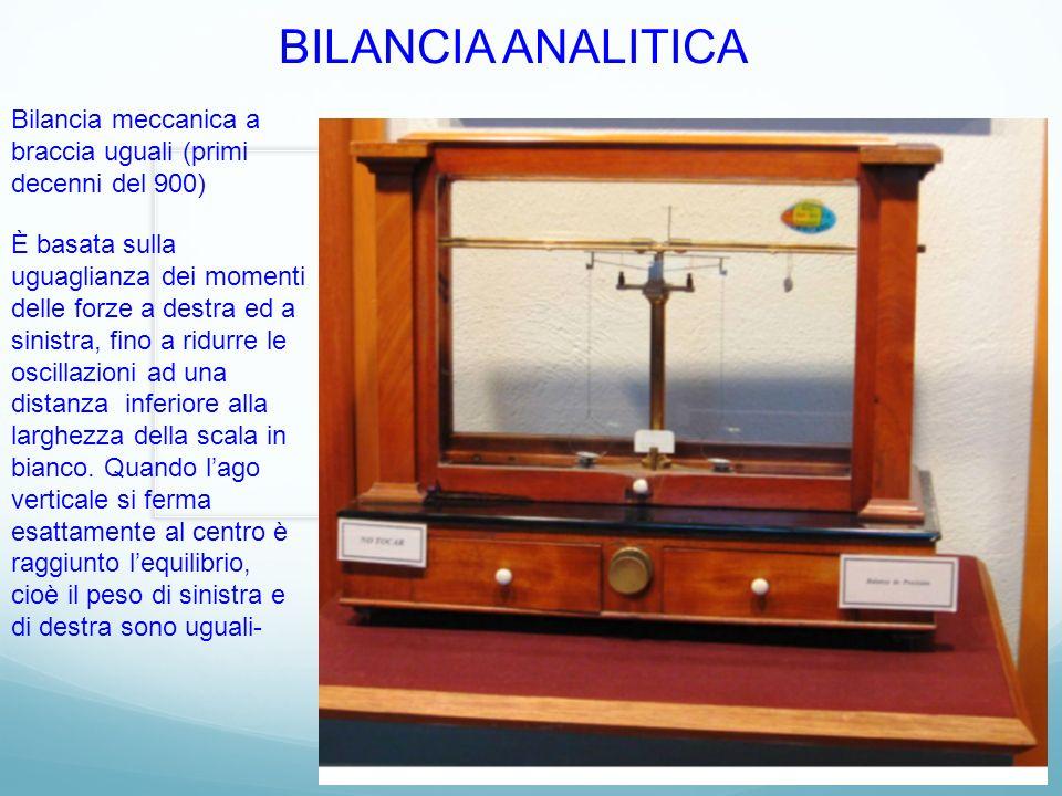 BILANCIA ANALITICA Bilancia meccanica a braccia uguali (primi decenni del 900) È basata sulla uguaglianza dei momenti delle forze a destra ed a sinist