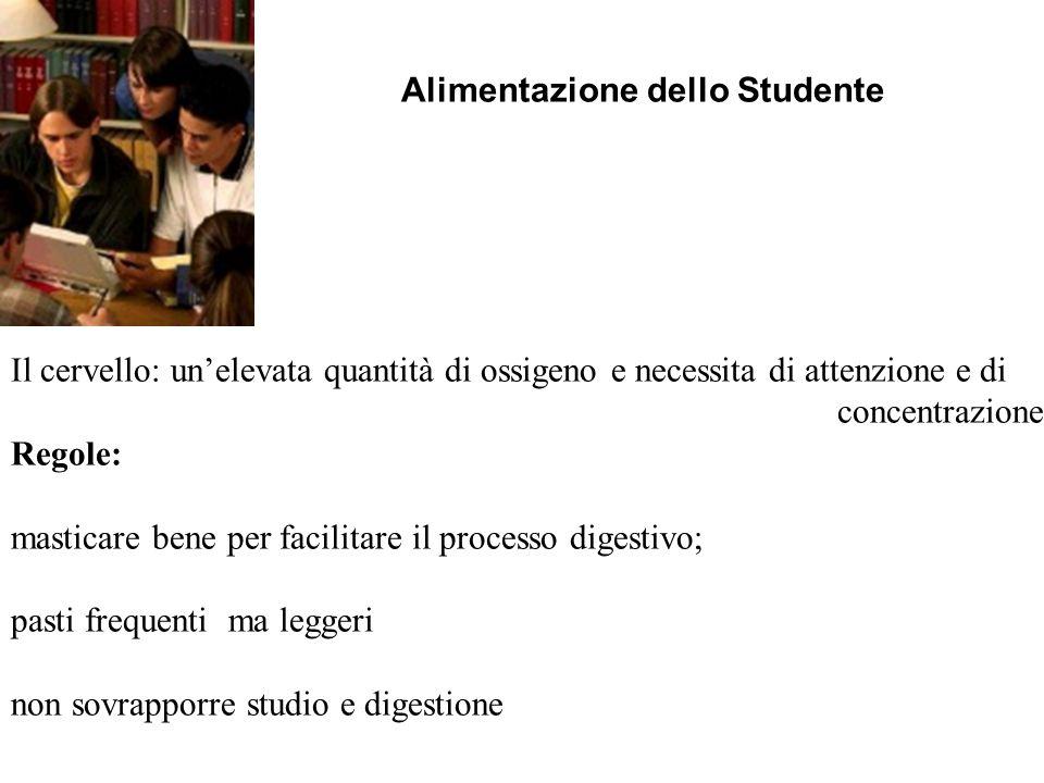 Alimentazione dello Studente Il cervello: unelevata quantità di ossigeno e necessita di attenzione e di concentrazione. Regole: masticare bene per fac