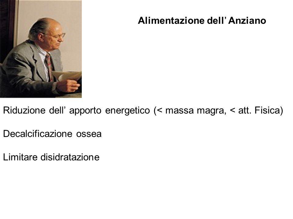 Alimentazione dell Anziano Riduzione dell apporto energetico (< massa magra, < att. Fisica) Decalcificazione ossea Limitare disidratazione