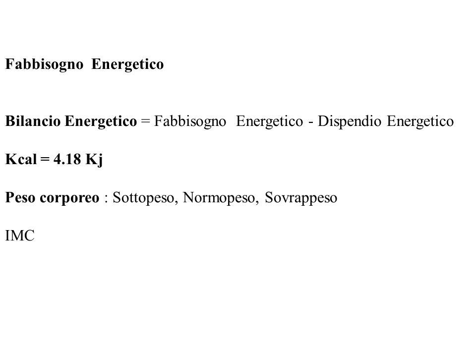 Fabbisogno Energetico Bilancio Energetico = Fabbisogno Energetico - Dispendio Energetico Kcal = 4.18 Kj Peso corporeo : Sottopeso, Normopeso, Sovrappe