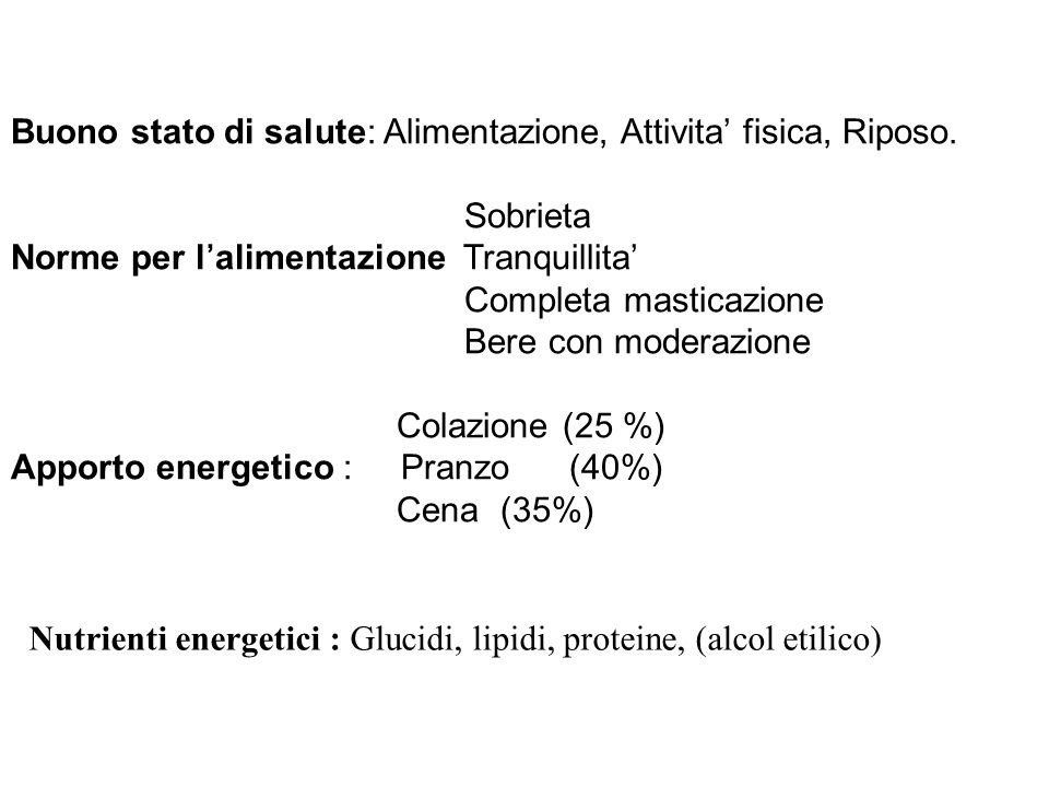 Alimentazione in Gravidanza Supplemento energetico modesto: 3.6 Cal.