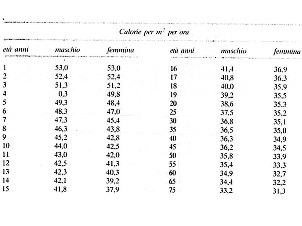 Valutazione del M.B Metodo semplice : 24Kcal x peso corporeo (kg) Calorimetria diretta Sistemi aperti Calorimetria indiretta Sistemi chiusi (spirometri) 1l O2 = 4.82 Kcal