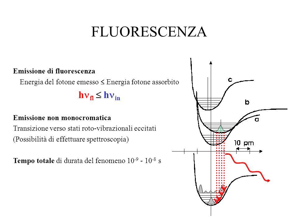 FLUORESCENZA Emissione di fluorescenza Energia del fotone emesso Energia fotone assorbito h fl h in Emissione non monocromatica Transizione verso stat