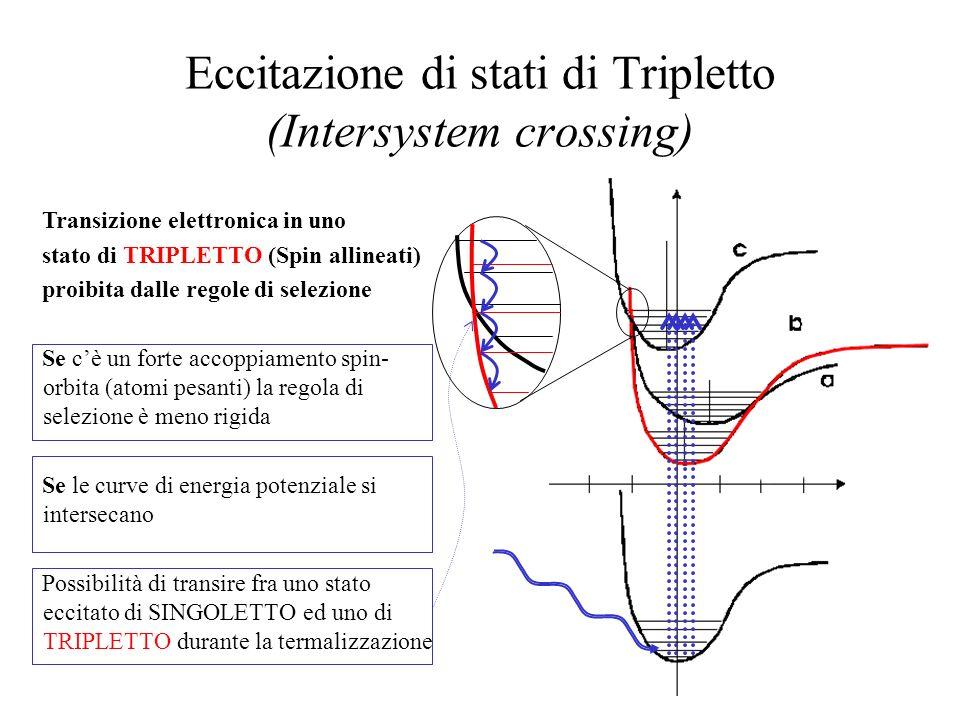 Diseccitazione di stati di tripletto FOSFORESCENZA La transizione spontanea ha probabilità bassa => Tempi di diseccitazione lunghi (Secondi) Energia intrappolata in uno stato metastabile Energia del fotone emesso sempre minore dellenergia del fotone incidente