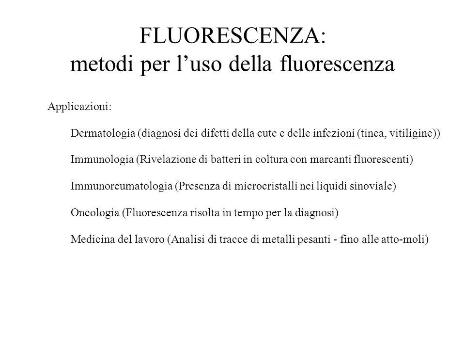 Applicazioni: Dermatologia (diagnosi dei difetti della cute e delle infezioni (tinea, vitiligine)) Immunologia (Rivelazione di batteri in coltura con