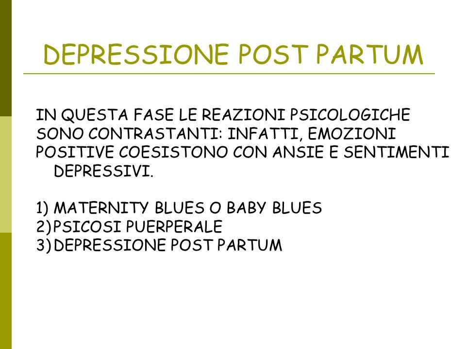 DEPRESSIONE POST PARTUM IN QUESTA FASE LE REAZIONI PSICOLOGICHE SONO CONTRASTANTI: INFATTI, EMOZIONI POSITIVE COESISTONO CON ANSIE E SENTIMENTI DEPRES