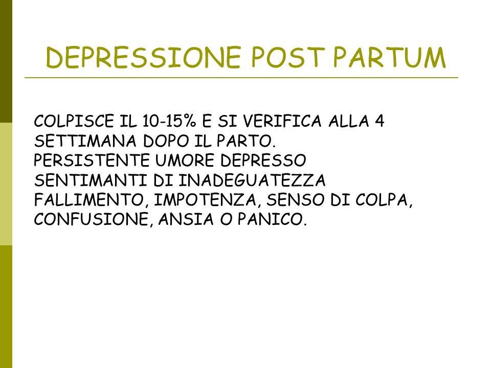 DEPRESSIONE POST PARTUM COLPISCE IL 10-15% E SI VERIFICA ALLA 4 SETTIMANA DOPO IL PARTO. PERSISTENTE UMORE DEPRESSO SENTIMANTI DI INADEGUATEZZA FALLIM