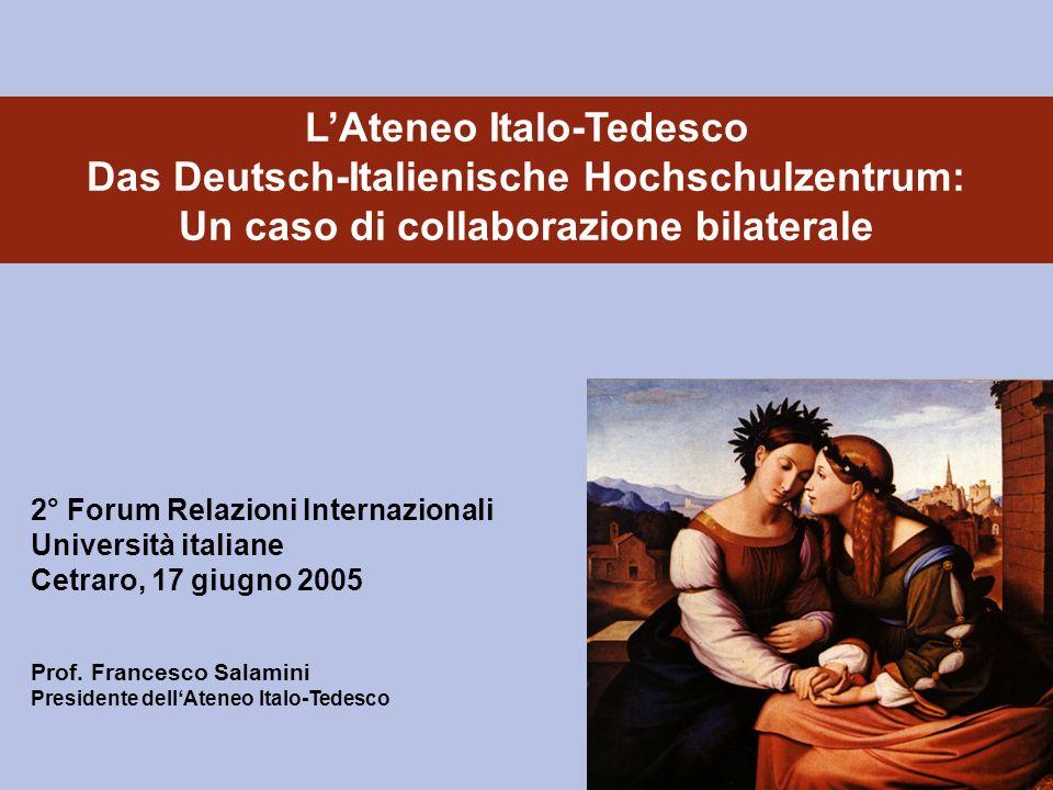 Prof. Francesco Salamini Presidente dellAteneo Italo-Tedesco LAteneo Italo-Tedesco Das Deutsch-Italienische Hochschulzentrum: Un caso di collaborazion