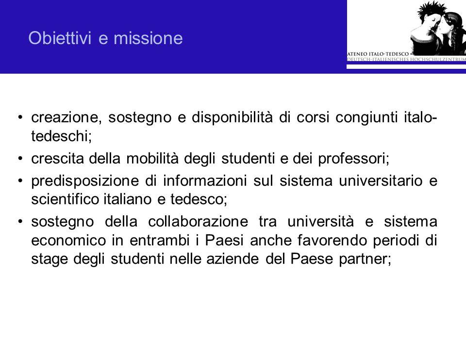 Obiettivi e missione creazione, sostegno e disponibilità di corsi congiunti italo- tedeschi; crescita della mobilità degli studenti e dei professori;