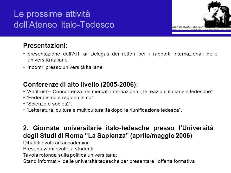 Le prossime attività dellAteneo Italo-Tedesco Presentazioni: presentazione dellAIT ai Delegati dei rettori per i rapporti internazionali delle univers