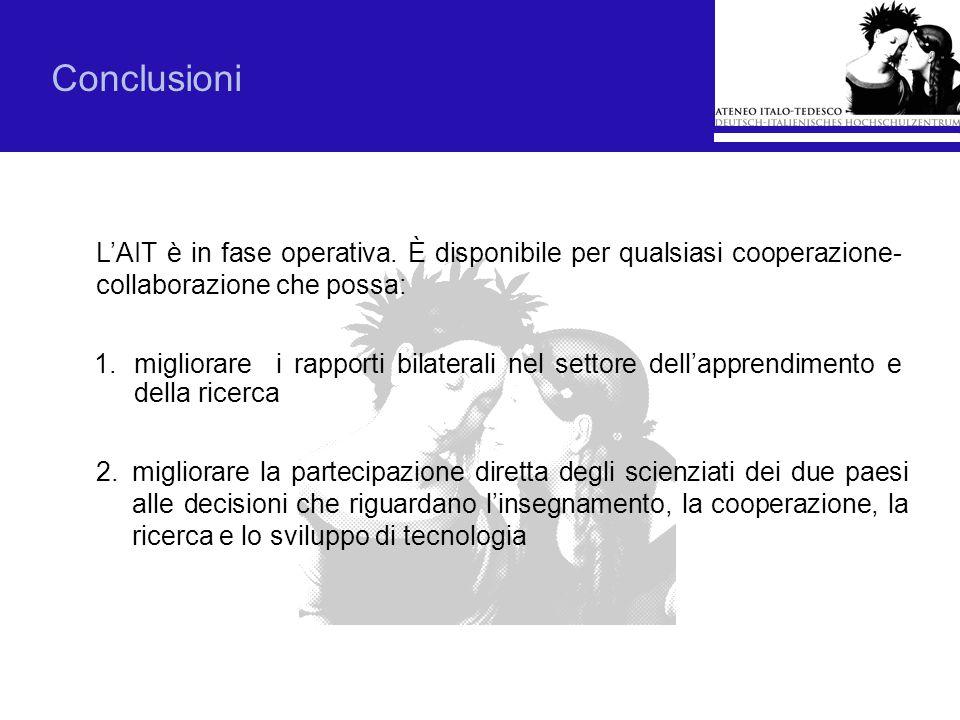 1.migliorare i rapporti bilaterali nel settore dellapprendimento e della ricerca Conclusioni LAIT è in fase operativa. È disponibile per qualsiasi coo