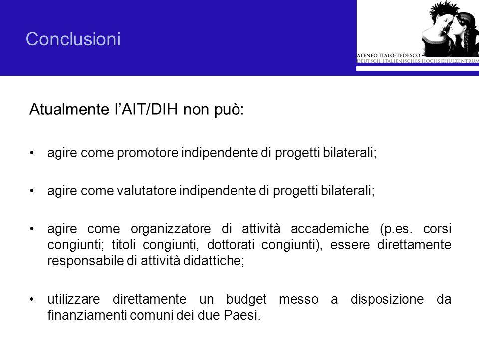 Conclusioni Atualmente lAIT/DIH non può: agire come promotore indipendente di progetti bilaterali; agire come valutatore indipendente di progetti bila