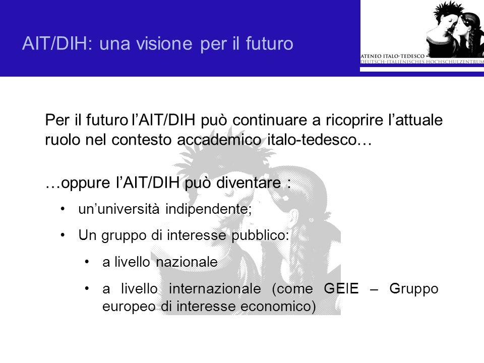 …oppure lAIT/DIH può diventare : Per il futuro lAIT/DIH può continuare a ricoprire lattuale ruolo nel contesto accademico italo-tedesco… AIT/DIH: una