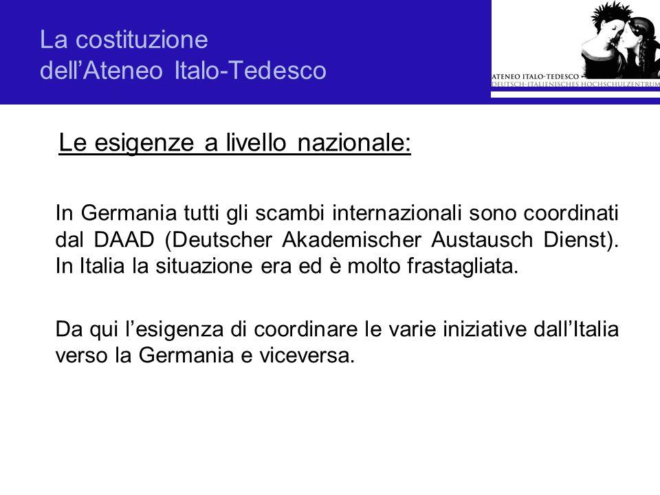 La costituzione dellAteneo Italo-Tedesco In Germania tutti gli scambi internazionali sono coordinati dal DAAD (Deutscher Akademischer Austausch Dienst