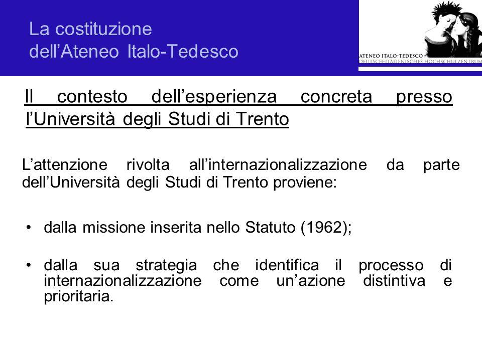 La costituzione dellAteneo Italo-Tedesco Il contesto dellesperienza concreta presso lUniversità degli Studi di Trento dalla missione inserita nello St
